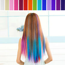 Synthetic Long Straight Colorful Hair Clip In On Hair Extensions Piece Highlight