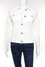 Theory White Long Sleeve Collared Corduroy Jacket Size Small