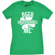 Womens Beer Understands Me Funny Lucky Irish Clover St. Patrick's Day T shirt