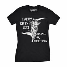 Womens Every Kitty Was Kung Fu Fighting Funny Kitten Cat Sword Music T shirt