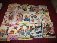 Burda Butterick Simplicity McCall's Craft Patterns Dolls Clothing Animals Uncut