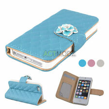Camellia Grid PU Leather Flip Magnetic Wallet Case Cover for Apple iPhone 5S 5