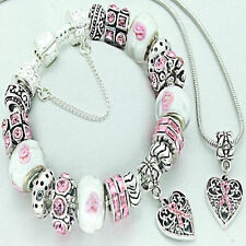 Ladies Pink Ribbon Cancer Awareness Charm Bracelet Matching Necklace FREEPOST