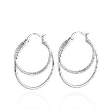 Korean Jewelry White Gold Plated Shiny Silver Fashion Hoop Earrings Huggie