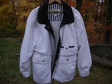Women's White with Dark Navy Trim Jacket with Removable Hood Size Large NICE!