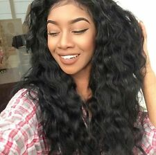 Glueless 6A Brazilian Human Hair Full Lace Wigs Loose Curly Wavy Lace Front Wig