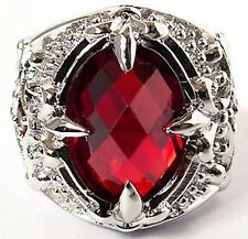 RED RUBY FLEUR DE LIS CLAW SILVER PLATED MENS RING
