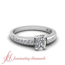 .70 Ct Channel Set Cushion Cut Untreated Diamond Engagement Rings For Women VS1