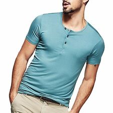 New!!! Mens Smooth Casual Henley T-shirt Viscose Soft Solid Basic Tee 5 Colors