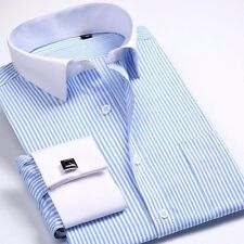 Fine!! Mens Long-sleeved Non-iron Cufflinks Solid Business Dress Shirt 9 Colors