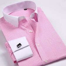 Great! Mens Long-sleeved Non-iron Cufflinks Solid Business Dress Shirt 9 Colors