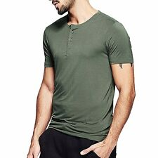 Great! Mens Smooth Casual Henley T-shirt Viscose Soft Solid Basic Tee 5 Colors