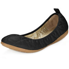 Women Rounded Toe Quilted Foldable Elastic Ballet Flats