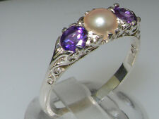 925 Solid Sterling Silver Natural Amethyst and Cultured Pearl Trilogy Ring