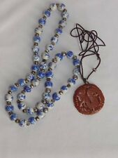 """CHINESE ASIAN BLUE FLORAL BEAD 28"""" NECKLACE w/CARVED STONE DRAGON MEDALLION"""