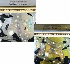 10ft Sparkly Happy 25th/50th Anniversary Jointed Letter Banner Party Decoration