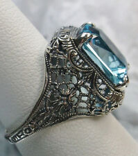 Sterling Silver 5ct*Aquamarine* Floral Victorian Filigree Ring {Made To Order}