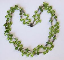 """VINTAGE STERLING 2 STRAND NATURAL GREEN PERIDOT STONE BEADED  NECKLACE  17"""""""