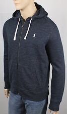 Polo Ralph Lauren Blue Heather Hoodie Full Zip Sweatshirt White Pony NWT