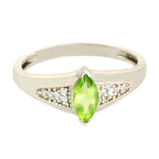 Peridot  & White Topaz Natural Gemstone Ring In 10 Kt Solid White Gold