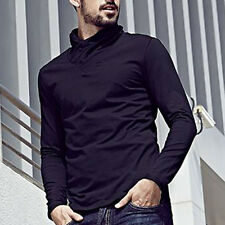 New!!! Mens High-necked Casual T-Shirt Solid Long Sleeve Basic Tee M L XL XXL