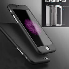 "Full Body Hybrid Hard Case Cover + Tempered Glass For iPhone 6S Plus 5.5"" Soft Q"