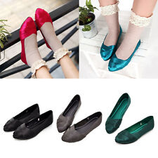New Ladies Girl Colorful Pointed Toe Ballet Shoes Satin Flat Casual Sandal Shoes