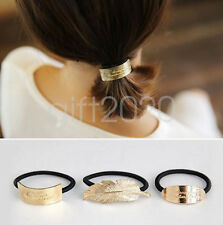 Fashion Chic Gold color feather oval rectangle Hair Band Rope Ponytail Holder