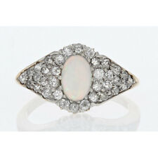 Vintage Opal and Diamond Ring in 10k Yellow Gold