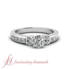 1.80 Ct Channel Set Wedding Ring With Round Cut Diamond In 14K White Gold GIA