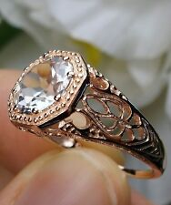 White Topaz 10k Rose Gold Victorian Wedding Filigree Ring Size: {Made To Order}