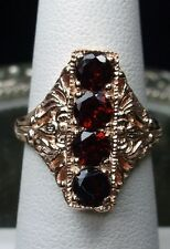 Natural Red Garnet Solid 14k Rose Gold Edwardian Filigree Ring (Made to Order)