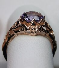 1.7ct Natural Amethyst Solid 10k Rose Gold Daisy Filigree Ring {Made To Order}