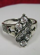 White Gem Sterling Silver Victorian Design Filigree Ring Size: {Made To Order}
