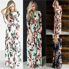 Women Fashion Floral Printed Long Sleeve Boho Evening Party Long Maxi Dress YG