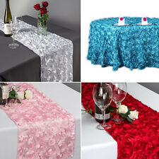 "30x 108"" Rose Embroidery Table Runner Satin  Wedding Party Banquet Table Decor"