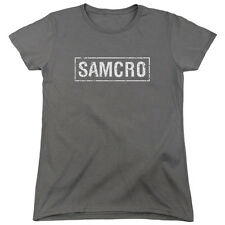 Sons Of Anarchy Samcro Womens Short Sleeve Shirt Charcoal