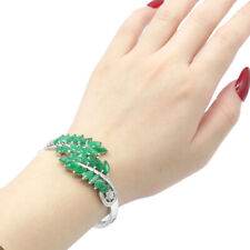 "Gorgeous Real Green Emerald Ladies Woman's Gift Silver Bangle Bracelet 7"" 63x4mm"