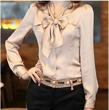 Powder Nude Victorian Flowy Silky tie neck Pussybow Long Sleeve Blouse Top S M L