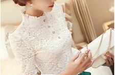 Victorian White Lace Crochet Guipure High Collar Pearl long sleeve blouse S M L