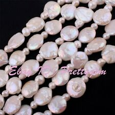 13-15mm Natural Coin Shape Freshwater Pearl Beads Gemstone Spacer Strand 15""