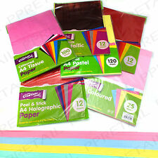A4 COLOURED PAPER CHOOSE CARD/CRAFT/SELF ADHESIVE/TISSUE SHEETS Hobby Party Wrap