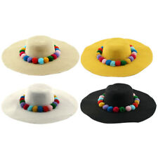 Ladies Women Straw Ball Decor Summer Traveling Floppy Brim Sun Cap Beach Hat