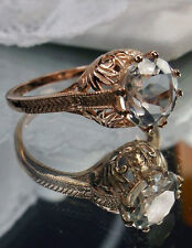 Victorian White Topaz 14k Rose Gold Victorian Filigree Ring Size {Made To Order}