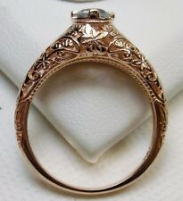 White Topaz Edwardian 14k Rose Gold Floral Leaf Filigree Ring {Made To Order}