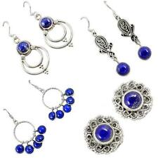 Lapis 925 sterling silver earrings handmade jewelry by jewelexi 4730A