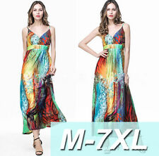 Plus Size L-6XL Summer Women casual Floral Boho Bohemian Long Maxi Beach Dress