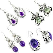 Natural amethyst 925 sterling silver earrings jewelry by jewelexi 4821A
