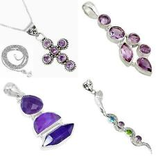 Natural amethyst 925 sterling silver pendant jewelry by jewelexi 4844A