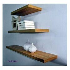 3PCS SOLID FLOATING SHELF SET WALL SHOP DISPLAY CONCEAL FITTING MAT TEAK